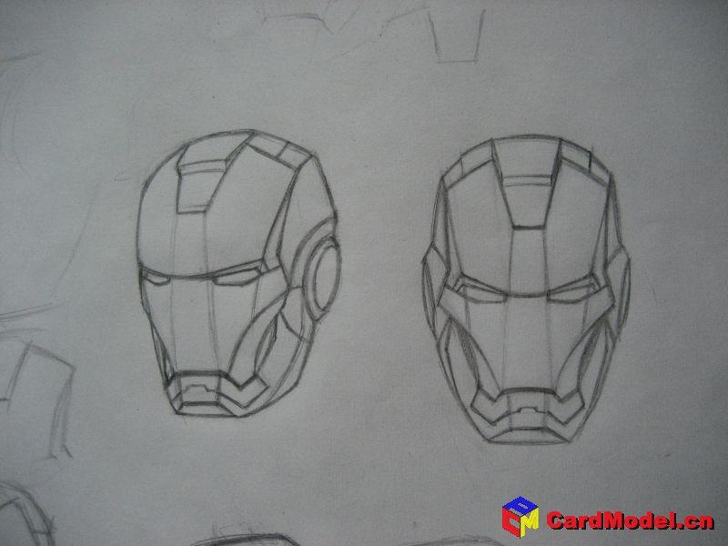 钢铁侠头盔纸模图纸 钢铁侠头盔纸模制作